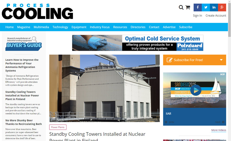 Process Cooling Website Debuts Mobile-Friendly Layout