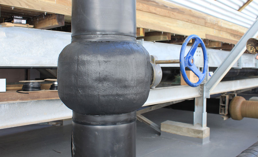 Densyl Tape provides Cooling Tower corrosion protection for piping, flanges and valves