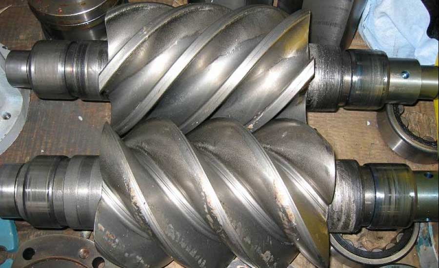 indusstrial screw compressor bearing stressed due to fouled oil