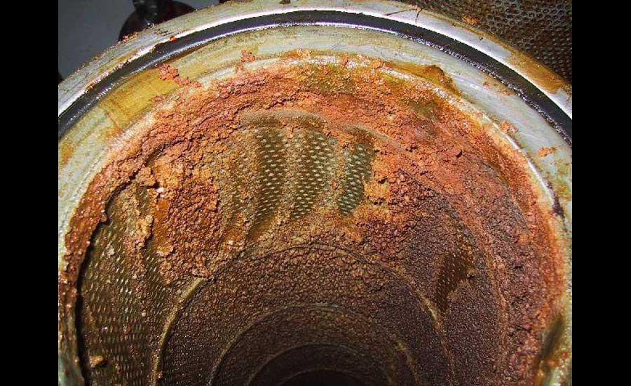 industrial screw compressor bearing stressed due to fouled oil clogged filter