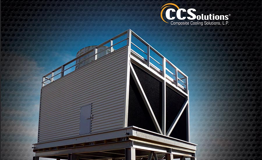 Fiberglass crossflow cooling tower for mission-critical applications manufactured by Composite Cooling Solutions LP