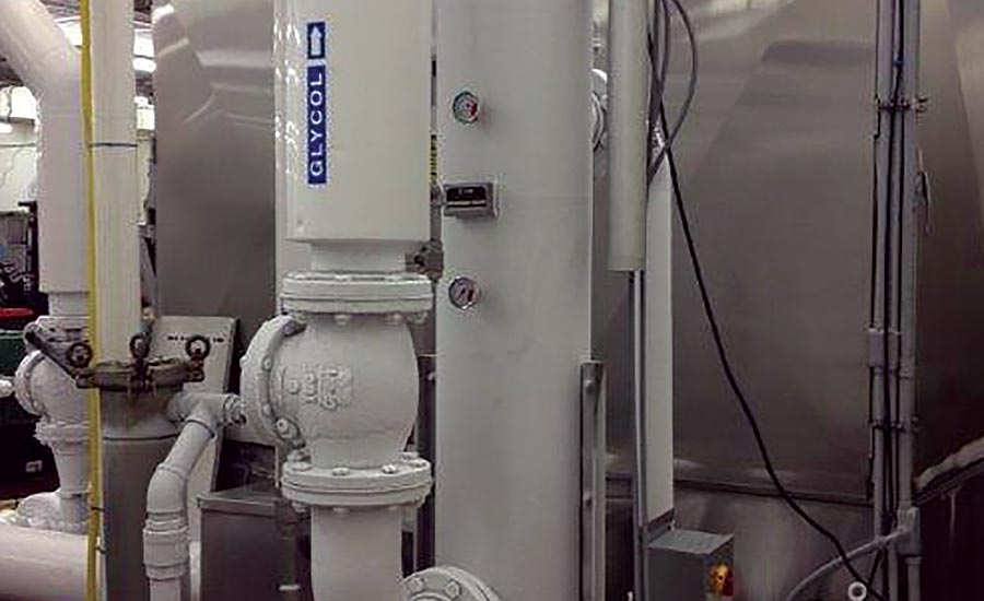 The self-cleaning filter supports a waterfall pouch chiller in sausage production facility.